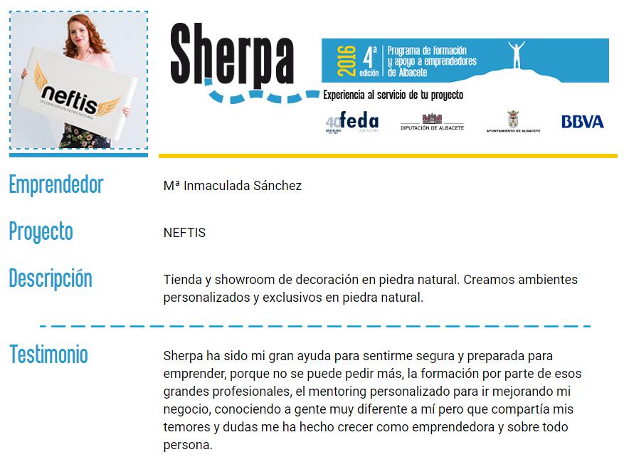 Neftis Semifinalista en el proyecto Sherpa 2016
