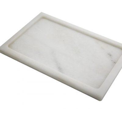 Plato de mesa para Alimentos líquidos alargado de Mármol Blanco ACUTÉ