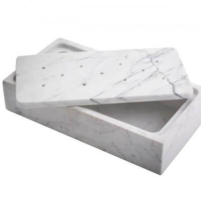 Plato de mesa Barbacoa de hielo seco para cocinar rectángular de Mármol Carrara blanco FROST