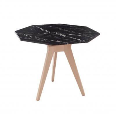Mesa de comedor alta con forma octogonal de Mármol negro MARE