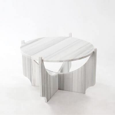 Mesa de centro de salon baja con forma redonda de Mármol blanco o negro STONE