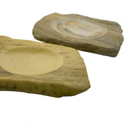 Plato de mesa para cualquier alimento con forma irregular rústica de piedra Cuarcita marrón LAYER