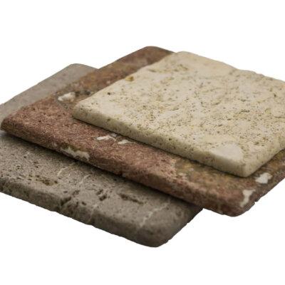 Plato de mesa para alimentos sólidos pequeño cuadrado de piedra Travertino marrón ADOBE